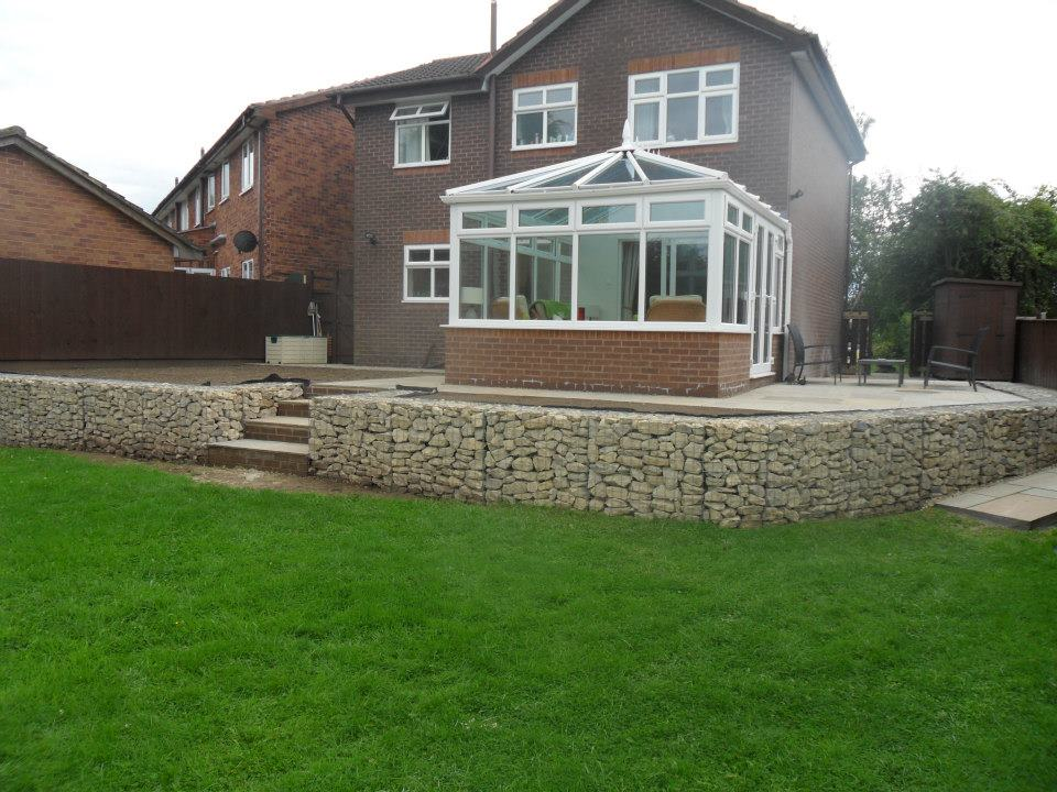 Gabion basket patio